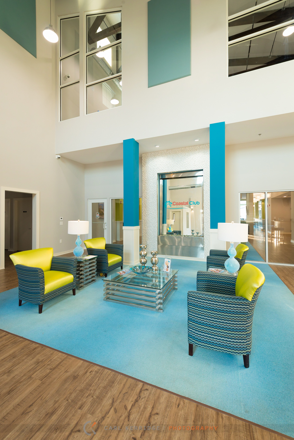 Commercial photography of the main entrance hall at Coastal Club, interior designs, by e3 studios