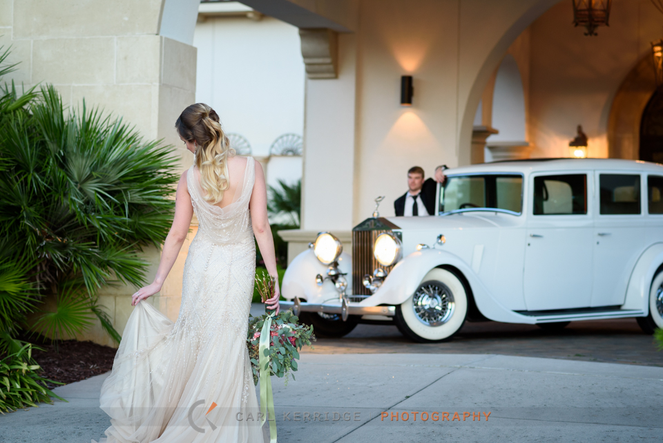 styled photo shoot with bridal portraits and a Rolls Royce at The Members Club at Grande Dunes in Myrtle Beach, South Carolina