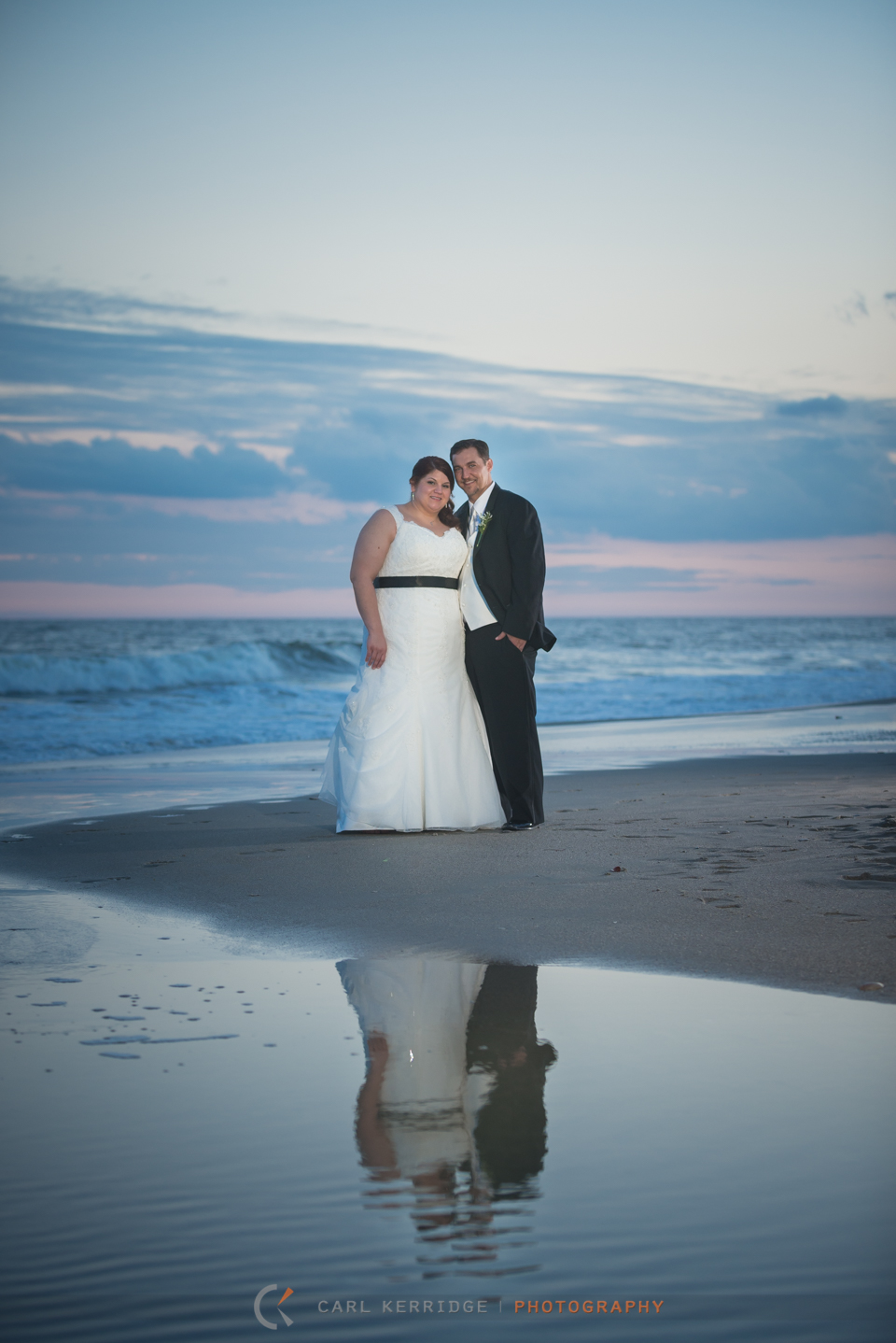 Myrtle Beach Wedding Photographer, Photojournalism, BW Wedding Image, Breakers Resort, Portraits, Beach, reflection