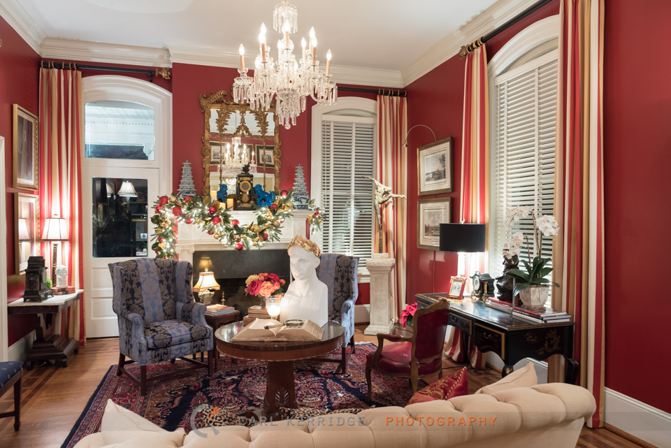 A view of the sitting room at Rosewood Manor, decorated with priceless antiques and christmas decorations.